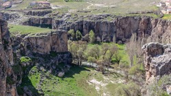 Ihlara Valley in Cappadocia. Ihlara Valley (Peristrema Monastery) or Ihlara Gorge is the most famous valley in Turkey for hiking excursions