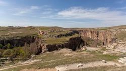 Ihlara Valley in Cappadocia. Ihlara Valley (Peristrema Monastery) or Ihlara Gorge is the most famous valley in Turkey for hiking excursions