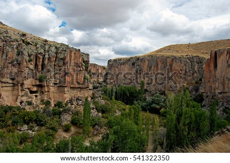 Ihlara Valley is a 16 km long gorge cut into volcanic rock in the southern part of Cappadocia, Turkey #541322350