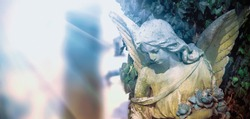 Iimage of an angel on a cemetery in sunlight. Ancient statue.