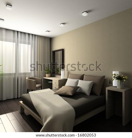 Iinterior of modern bedroom. 3D render #16802053