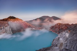 Ijen Crater or Kawah Ijen is a volcanic tourism attraction in Indonesia with beautiful landscape