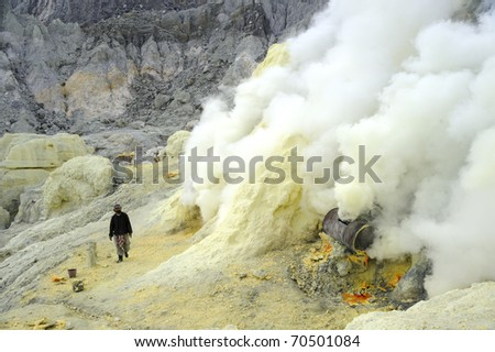 IJEN VOLCANO, INDONESIA - JUNE 29: Worker extract the sulfur from active volcano on June 29, 2010 in East Java, Indonesia. They do this with min.protection,and gases make it hard to breathe.