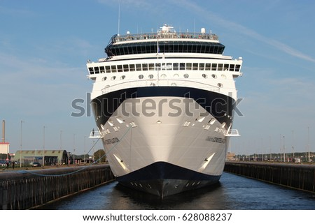 IJMUIDEN, THE NETHERLANDS - August 12, 2012: CELEBRITY CONSTELLATION in the sluice of IJmuiden. CELEBRITY CONSTELLATION is a Millennium-class cruise ship of Celebrity Cruises.
