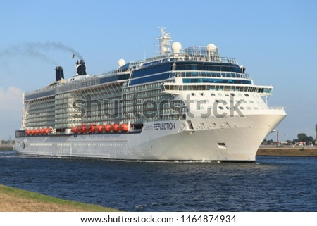 IJmuiden, The Netherlands - July 20th 2019: Celebrity Reflection operated by Celebrity Cruises on North Sea Canal, detail of funnel
