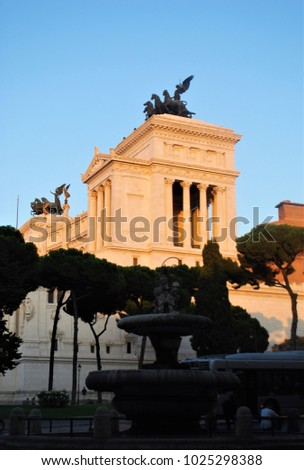 Il Vittoriano monument place of Venice, white marble, rome italy #1025298388