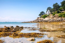 Ile de Batz Island with a beach in the summer, Bretagne, France, French Atlantic
