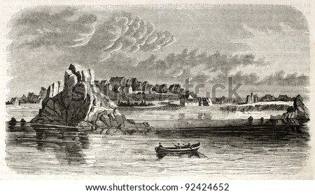 Ile-de-Brehat (Brehat island) old view, Brittany, France. By unidentified author, published on Magasin Pittoresque, Paris, 1845