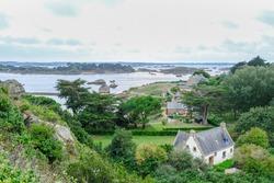 Ile de Brehat, France - August 27, 2019: Coastal landscape at picturesque Ile de Brehat island in Cotes-d'Armor department of Brittany, France