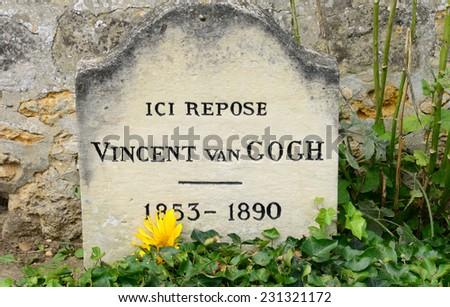 Ile de France, the Vincent Van Gogh tomb in Auvers sur Oise