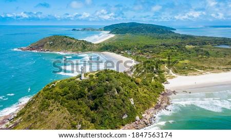 Ilha do Mel - Paraná. Panoramic aerial view of Ilha do Mel and its beaches Foto stock ©