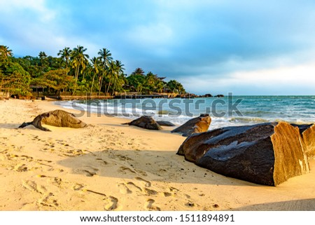 Ilhabela Island Beach one of the main tourist spots of the coast of Sao Paulo with its natural tropical vegetation and paradise scenery #1511894891