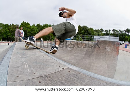 ILHAVO, PORTUGAL - AUGUST 13: Nuno Alcaide on a  rock`roll during the Skate Open Ilhavo on August 13, 2011 in Ilhavo, Portugal.