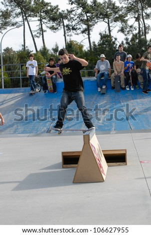 ILHAVO, PORTUGAL - MARCH 16: Joao Dantas on a FS Nose slide during the Skate Open Ilhavo on March 16, 2008 in Ilhavo, Portugal.