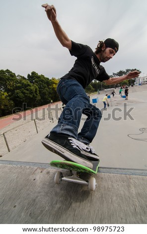 ILHAVO, PORTUGAL - MARCH 31: Pedro Freire during the Union Ride Shop Skate Jam on March 31, 2012 in Ilhavo, Portugal.