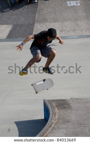 ILHAVO, PORTUGAL - SEPTEMBER 04: Tiago Lopes during the 2nd Stage of the DC Skate Challenge on September 04, 2011 in Ilhavo, Portugal.