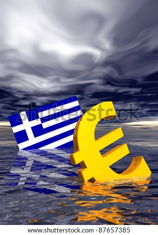 Ill euro symbol and greek flag drowning in the ocean by stormy weather