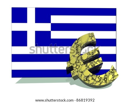 Ill euro symbol falling on big greek flag in white background