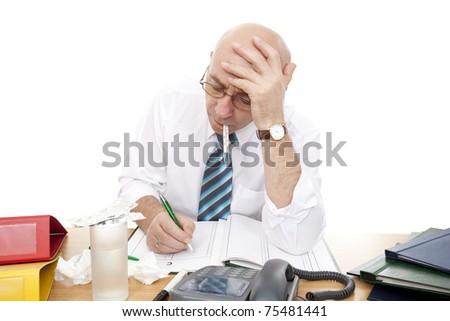 ill men in work on white background - stock photo