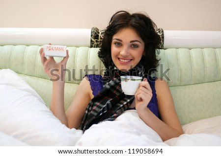ill woman shows the medicines