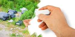 Illegal dumping with bottles, boxes and plastic bags abandoned in nature - concept image with hand that is erasing.