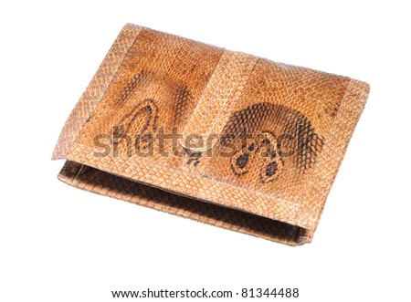 illegal endangered species product from CITES list - Asian cobra leather wallet isolated on white