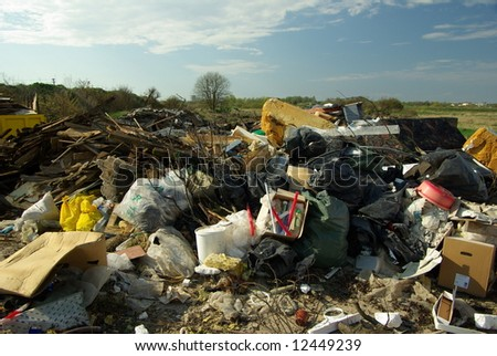 Illegal rubish pile - stock photo