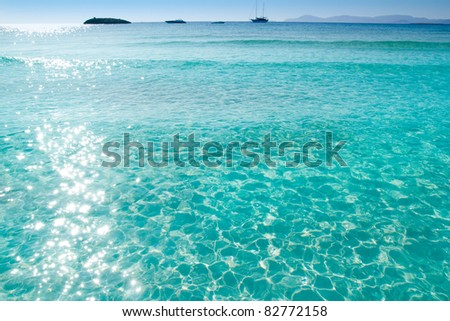 Illetes Illetas beach in Formentera with turquoise water at Mediterranean Balearic islands