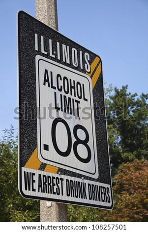 Illinois alcohol limit 0.08 - road sign