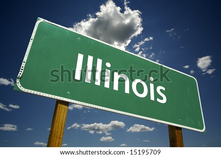 Illinois Road Sign with dramatic clouds and sky.