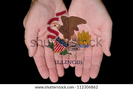 Illinois State Flag Seal Painted On Hands Showing The Concept Of Having Illinois In Our Hands