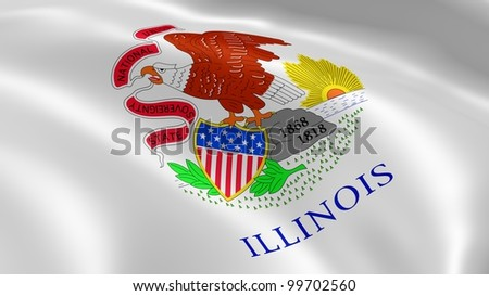 Illinoisan flag in the wind. Part of a series.