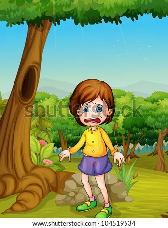 Illlustration of girl crying in woods - EPS VECTOR format also available in my portfolio.
