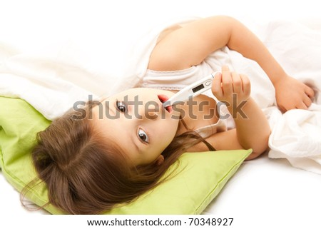 illness little girl on bed