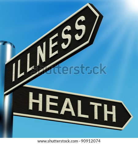 Illness Or Health Directions On A Metal Signpost