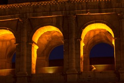 Illuminated arches of ancient architecture