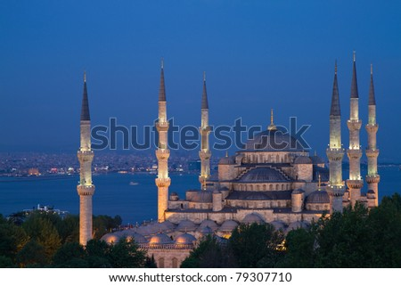 Illuminated Blue Mosque during the blue hour in HDR, Istanbul, Turkey