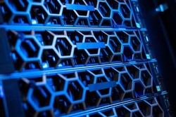 Illuminated Blue Servers In a Hyperconverged Environment In Modern Datacenter