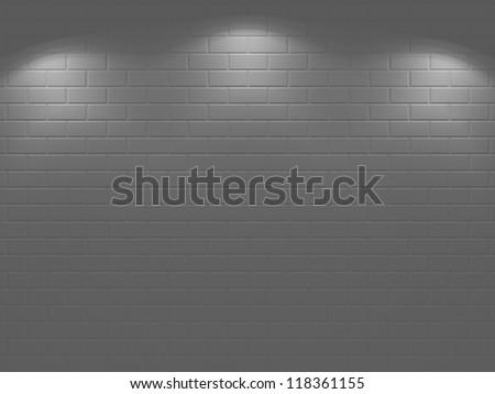 illuminated brick wall - 3d render