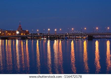 Illuminated bridge in Riga, Latvia