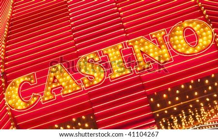 illuminated casino sign in Las Vegas Nevada