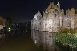 Illuminated castle gravensteen (ghent, belgium) at night