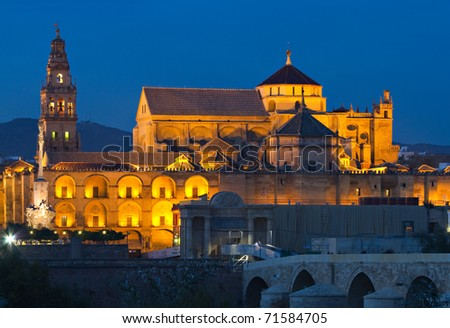 Illuminated Cathedral-Mosque of Cordoba at the blue hour, Andalusia, Spain