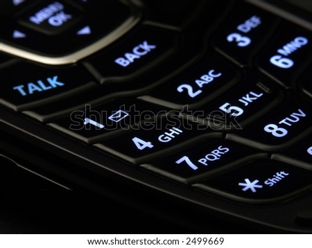 Illuminated cell phone keypad.