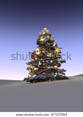 Illuminated Christmas tree in snow - stock photo
