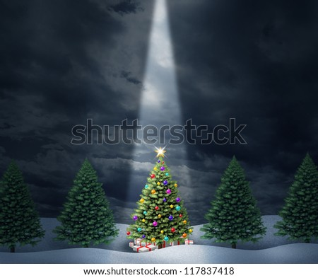 Illuminated Christmas tree with a row of evergreen pines and a center decorated holiday icon with bows and gifts enlightened with heavenly light from above  against a cold peaceful winter night.