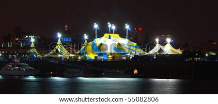 illuminated Circus Tent in the Harbor of Montreal at Night