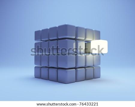 illuminated cube  on blue background. 3d illustration