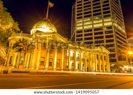 Illuminated Customs House in Brisbane, Queensland, Australia. Long Exposure Image. High Resolution Photo.