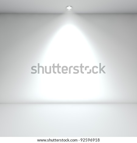 Illuminated empty white interior with spot light.